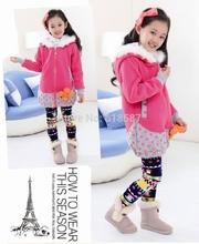 High Quality 2014 Autumn Winter Girls Sweatshirt Children Hoodies Velvet Fleece Outerwear Warm Kids Coat Beautiful Pullover 326(China (Mainland))