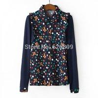 2014 Women's Gaudy Sweet Blouse Floral Print Spliced Knit Sleeve  Long Sleeve Ladies Blusa AH29