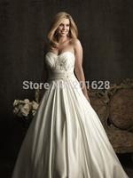 2014 New arrival elegant Sweetheart A-line Satin all over back zipper with beading white/ivory longPlus Size Wedding Dresses