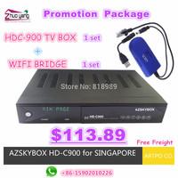 [Newest   Package] 1 set HDC-900 Tv BOX + 1 piece WIFI Bridge, New Original Azskybox,  for Singapore, all starhub Channels