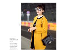 2014 fall fashion  women's  winter clothing Coat british style abrigos mujer casual manteau femme jakets Free fur collar