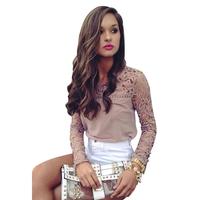 Hot Sale Sexy Hollow Out Women Blouse Patchwork Blusas Femininas 2014 Long Sleeve Casual Chiffon Blouse Women Tops