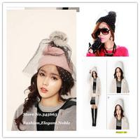 2014 Fashion supermodel street shooting autumn dual purpose veil retro knitted hat for Women Women's Casual Beanies