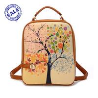 2014 fashion print backpack women small female PU backpack leather school bag women preppy style