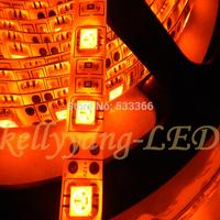 16.4FT 5M 5050 Orange LED 60LED/M High Power Superbright IP65 Waterproof Led Strip Light  DC 12V  with tracking number