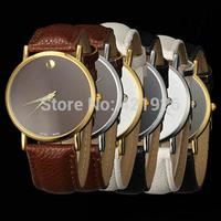New Fashion Women's Men's Geneva Minimalism leather band Wrist Watch