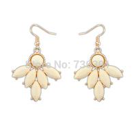Free shippingNew Arrival Occident Fashion Milk White Flower Petal Elegant Gold Droop Earring
