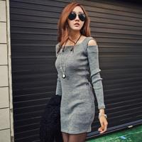 HOT SALE! 2014 Winter Autumn Fashion Knitted Dress Women's Long Sleeve Sheath Dress Ladies Sexy Off Shoulder Vestidos
