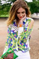 2014 New arrival fashion strapless geometry print chiffon shirt female tops printed blouse S/M/L