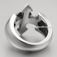 Cross male skull titanium steel ring