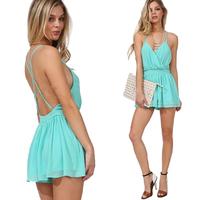Hot Sale Backless Women Summer Dress Sandbeack Dresses Light Blue Sexy Strapless Casual Dress Mini Dress
