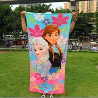 2014 Fashion Kids Christmas Frozen Towels Elsa Anna Olaf Soft Children Shower Towels Beach Bathing Towels F129