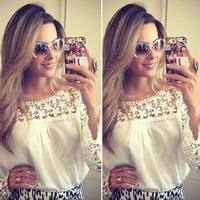 2014 new arrival girl White lace chiffon blouse women lace long-sleeve blusas