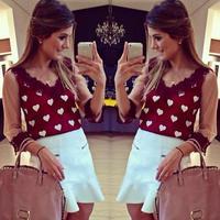 Hot sell women white Love printing mesh red  lace blouse stitching chiffon shirt V-neck blusas