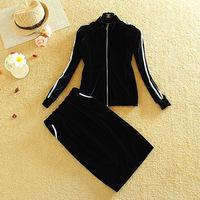 2014 Autumn New Arrival Conjunto Saia E Blusa Velvet Women Sport Skirt Suit Casual Crop Top Pencil Skirt Set