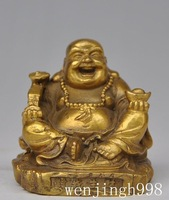 Christmas gift  Chinese Buddhism Brass copper Happy Laugh Maitreya Buddha Yuanbao Ruyi Statue