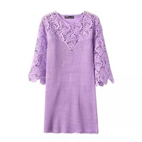 2014 new women sweet knitting 4 solid color lace combined o-neck 3/4 sleeves regular above knee straight dress 421422