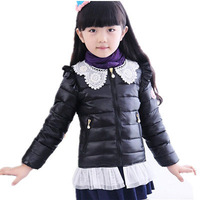 New Autumn and Winter Children Coats Girls Lace Collar Warm Cotton-padded Jackets Kids Thick Down Parkas Princess Outerwear