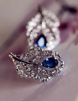South Korea quality goods sent straight silver zirconium drill micro Mosaic leaves little stud earrings earrings TT284 B11