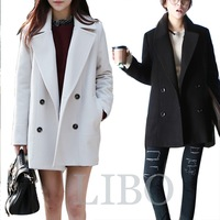 2014 new winter fashion women solid casual long thin double-breasted wool coat long sections woolen coat