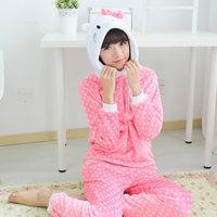 Kitty Women Girl Long Sleeve Coral Night-suit Pajamas Set Thicken Warm
