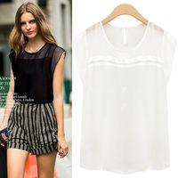 Hot 2014 Fashion Femininas Blusas Women Summer Loose Chiffon Shirts Tops Sheer Short Sleeve O-Neck Blouses Plus Size Camisas