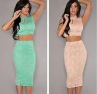new 2014 Autumn dress vintage dress 2 Pieces Nude Lace Scoop Back Midi Dress Set LC6702