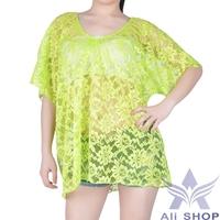 New Bathing Suit Cover Ups Hot Green Sexy Lace Floral Short Sleeve Dress Swimwear Bikini Beach Cover Up Biquines de praia 05598