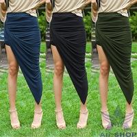 2014 European Style Skirts Womens Sexy Wrap Banded High Waist Skirt Draped Cut Out Asymmetrical Mini Skirt Saias Femininas 03059