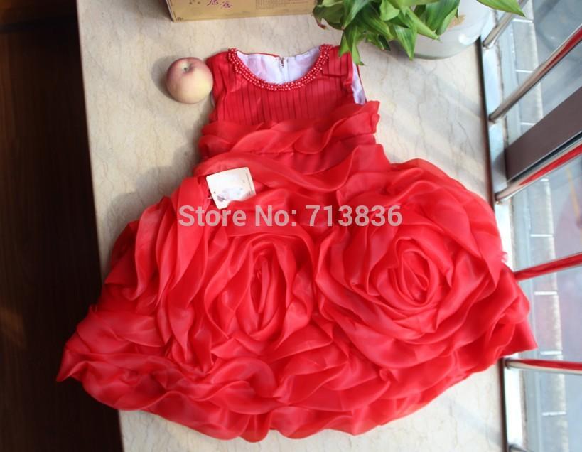 children new summer baby Girls flower pearls tutu dresses AA409DS-52FC(China (Mainland))