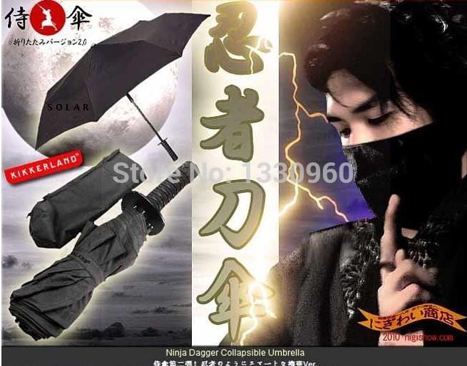 Luxury and durable Three-folding sun umbrella uv protection,creative automatic umbrella katana,black pagoda umbrella(China (Mainland))