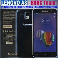 Original Lenovo A8 A806 A808T 4G LTE FDD WCDMA MTK6592 Octa Core 1.7GHz Android 4.4 5.0'' IPS 1280x720 2GB RAM 16GB ROM 13.0MP
