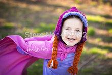 free shipping, Crochet Elsa hat , Princess Anna hat , high quality! new style girls Crochet hats !-stock(China (Mainland))