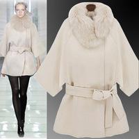 2014 Winter new Korean yards raccoon fur collar woolen coat cashmere woolen cape coat wholesale