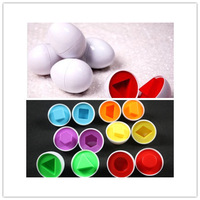 Simulated Eggs 6Pcs Mixed Shape Wise Pretend Puzzle Smart Eggs Baby Kid Learning Kitchen Toys Tool Education Toys Gift FK871361
