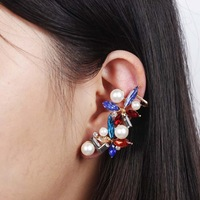 Colorful crystal flower earring clip gold plated women's pearl design clip earring fashion clip earring female wholesale