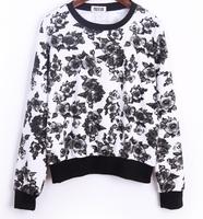 2014 Autumn Winter Trend All-match Women Slim Hoodie Shirt  Flora Print Harajuku Style Loose Fit Preppy Style Ladies Sweatshirt