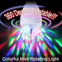 EB3625 RGB 3W E27 Crystal Auto Rotating LED Bulb Full Color Mini Stage DJ Lamp Light(China (Mainland))