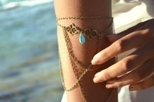 2015 New Women s Jewelry Accessories Sexy Arm Chain Water Drop Pearl Necklace Tassels Bracelets Body