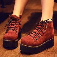 2014 Women Winter New Ankle Boots Fashion Platform Lace Up High-top Suede Shoes Autumn Short Boots Botas Femininas