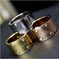 Guaranteed100% 316L Titanium Steel circle Brand wedding engagement rings jewellery R412