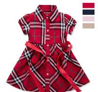 Summer Plaid Dress Kids Wear Clothes Fit 2-6yrs Childrens Variety Of Color For Girls Plaid Infantil Fashion Resale Dress 950