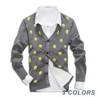 Free shipping 2014 New arrival autumn skull silm fit V-neck cardigan men knitting sweater Size M/L--XXL #ZFC173