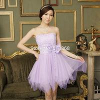 Top-rated new desigual tube top empire lace guaze bridesmaid dresses,3 colors(champagne/white/light purple) vestido de festa,HOT