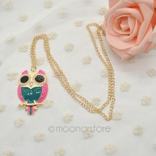 1pcs lot Fashion Metal Hit Contract Color Lovely Oil Owl Pendant Necklace Long Necklace Sweater Neck