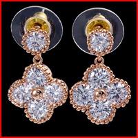 Allergy Free Top AAA Swiss Cubic Zirconia Four Leaf Clover Earrings CZ Earrings - SKBTQ
