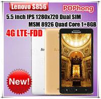 Original Lenovo S856 4G LTE Android Mobile Phonw Snapdragon 400 MSM 8926 Quad Core 5.5 inch IPS 1280x720 Dual SIM Dual Camera