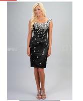 Cap sleeve short black women cocktail dresses 2014 Vestidos De Noche selling cheap PROM dresses online