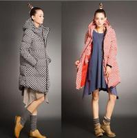 2015 Big Promothion women coat Long style Fashion  Personality Pollka Dot Print Zipper Slim Hooded coat Women duck down jacket