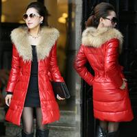2014 Winter Women' Pu Leather Down parkas Plus Size Fur Sash Ladies' Long Casual Coats 1119910